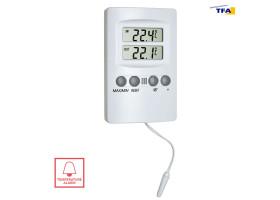 Термометр цифровой TFA с сигнализацией, внешний проводной датчик