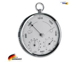 Барометр TFA с термометром и гигрометром, пластик, хром, d=135 мм