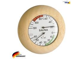 Термометр гигрометр для сауны TFA дерево, d=135 мм
