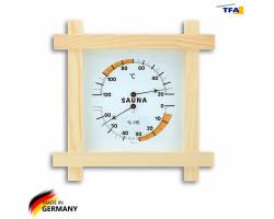 Термометр гигрометр для сауны TFA дерево, 220х220 мм