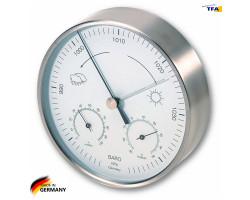 Метеостанция TFA с барометром, комнатная/уличная, нерж. сталь, d=160 мм